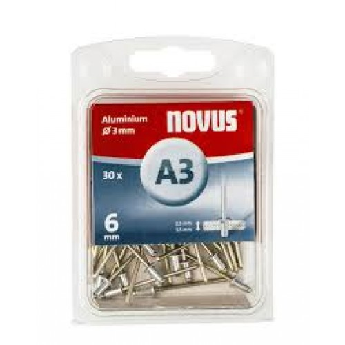 NOVUS BLINDKLINKNAGEL A3 X 6MM, ALU SB, 30 ST.
