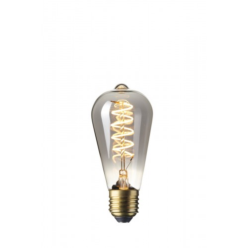 CALEX LED FULL GLASS FLEX FILAMENT RUSTIK LAMP 240V 4W 100LM E27 ST64,
